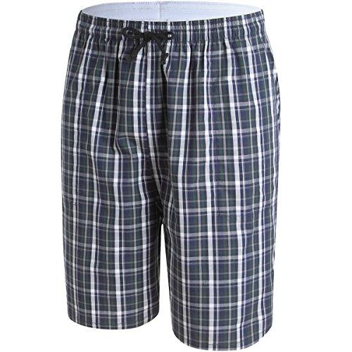 Men's Plaid Check Soft 100% Cotton Sleep Lounge Pajama Short Pants with Pocket Small - Madras Plaid Pants