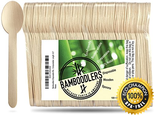 """Disposable Wooden Spoons by Bamboodlers   100% All-Natural, Eco-Friendly, Biodegradable, and Compostable - Because Earth is Awesome! Pack of 100- 6.5"""" spoons."""