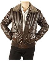 Mens Premium Quality Brown Leather Flight Jacket