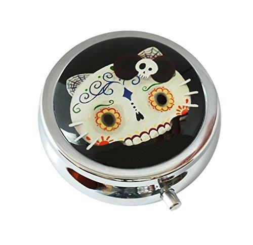 Skull Round Steel Case - WuCong Sugar Skull Cat Custom Fashion Design Glass Round Pill Case Western Medicine Tablet Holder Decorative Box
