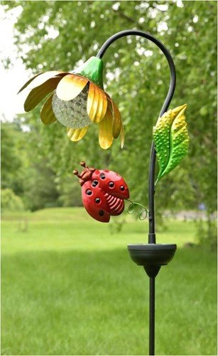Zaer Ltd. Solar Flower Garden Stake with Rotating and Color Changing LED Light-Up Orb (Yellow with Ladybug)
