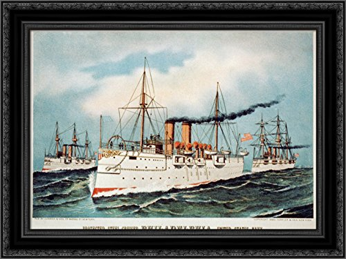 (Protected Steel Cruiser Philadelphia, United States Navy 24x18 Black Ornate Wood Framed Canvas Art by Currier and Ives)
