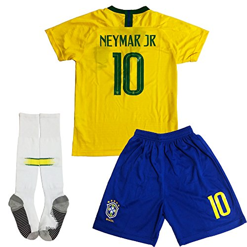 GLL SPORT New 2018#10 NEYMAR JR Home Yellow Kids Soccer Football Jersey Shorts Socks Youth Sports Kit (9-10 Years)