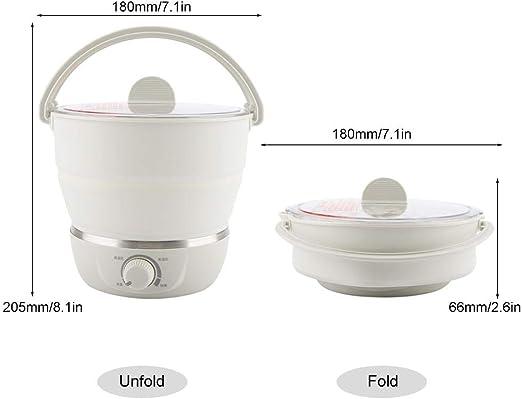 Olla eléctrica plegable, olla plegable multifuncional olla portátil cocina de viaje doméstica 110-240V para huevos de agua hirviendo, fideos de cocina(Beige): Amazon.es: Hogar