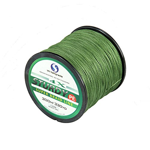 FYSHFLYER Super Power Braided Fishing Line – 300M(330 Yard); Low Memory Cut Resistant – Green