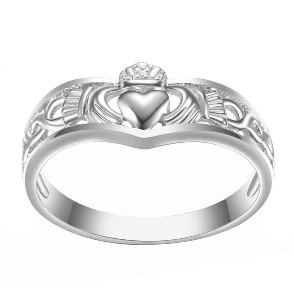 Amazon Javeny 925 Sterling Silver Simple Plain Irish Celtic Claddagh Promise Engagement Bridal Wedding Rings For Women Jewelry: Modern Irish Wedding Rings At Websimilar.org