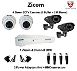Zicom 2+2 CCTV IR Cameras with 4 Channel DVR Kit and all Accessories