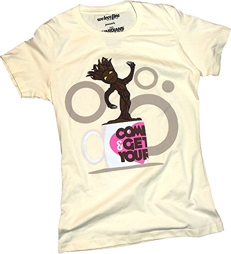 Cup Of Groot -- Guardians Of The Galaxy Crop Sleeve Fitted Juniors T-Shirt, Large
