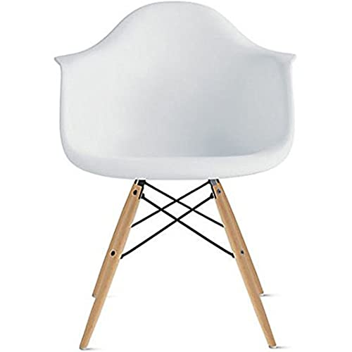 2xhome Eames Style Mid Century Modern Dining Arm Chair with Natural Wood Legs, White,1 piece