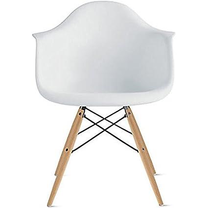 2xhome   White Plastic Chair Arm Chair Eiffel With Natural Wood Legs