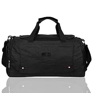 EGOGO Canvas Duffle Bag Gym Luggage Bag Cross Body Tote Bag Weekend Overnight Travel Bag E532-3 (Black)