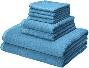 AmazonBasics Quick-Dry Towels - 100% Cotton, 8-Piece Set, Lake Blue
