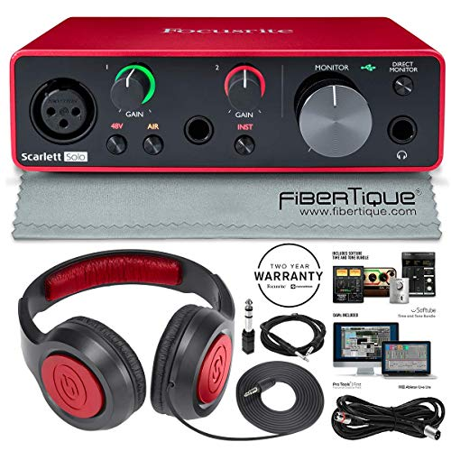 Focusrite Scarlett Solo USB Audio Interface (2nd Generation) Bundle with XLR Cable + 1/4 Inch Cable + Samson Studio Headphones + FiberTique Cleaning Cloth... from Focusrite