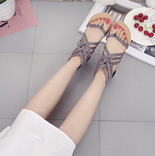 Sangle on Femme Été Peep Chaussures Slip Gris Bride éclair Fermeture Clip Croisées Cheville Sandales Toe Plates T Plage Romaines 37 Tongs 5wBYxg0Oqn