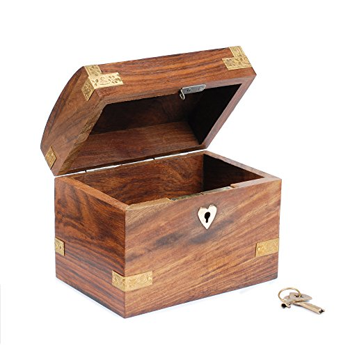 Rusticity Wood Coin Bank, Safe Piggy Bank, Mini Money Bank, for Kids and Adults - Treasure Chest Design   Handmade   ( 3.25
