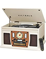 Victrola Navigator 8-in-1 Classic Bluetooth Record Player with USB Encoding and 3-Speed Turntable, White