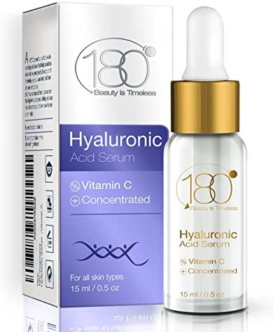 NEW YEAR DEALS - 180 Cosmetics Hyaluronic Acid Serum & Vitamin C. Get Rid Of Wrinkles From Day 1 and Enjoy Younger Looking Skin, Effective Concentrated Facial Serum. Hyaluronic Acid DEAL OF THE DAY
