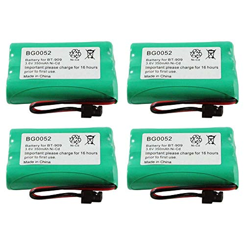 (WalR Rechargeable Cordless Phone Battery Ni-CD, 4 Pack, for Uniden DCT7565 DCT758 DCT7585 DCX750 DECT 1500 DECT1500 DECT 1588-5 DECT1588-5 TRU-12803 TRU-226 TRU-9260 TRU-9260-2)