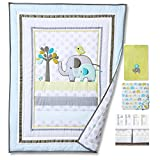 Blue Elephant 4pcs set Baby Bedding Set Nursery Crib Bedding With Comforter Blanket