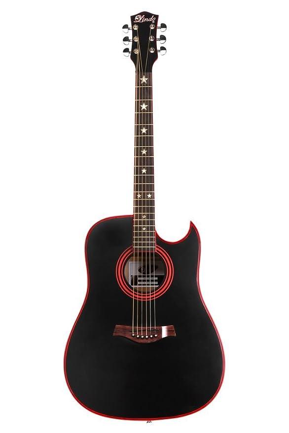 Lindo Guitars LDG-46 Widow - Guitarra acústica (con mástil de clase A y madera de palisandro, con accesorios), color negro mate: Amazon.es: Instrumentos ...