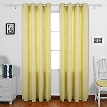 yellow curtains for bedroom. Deconovo Pale Yellow Curtains 95 Recycled Cotton For Bedroom 52 W  x L Amazon com Emery Chevron Window Curtain Pair 2 Panels