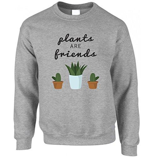 Plants Are Friends. Plants Garden Friendship Flowers Cute Cactus Adorable Best Friend Love Sweatshirt Jumper Cool Funny Gift Present Unisex (Adorable Sweatshirts)