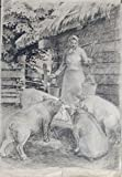 At the trough by Zigurds Gustins. Realistic drawing life in village. Dated 1958. Charcoal on paper