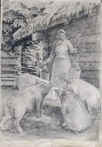 At the trough by Zigurds Gustins. Realistic drawing life in village. Dated 1958. Charcoal on paper by