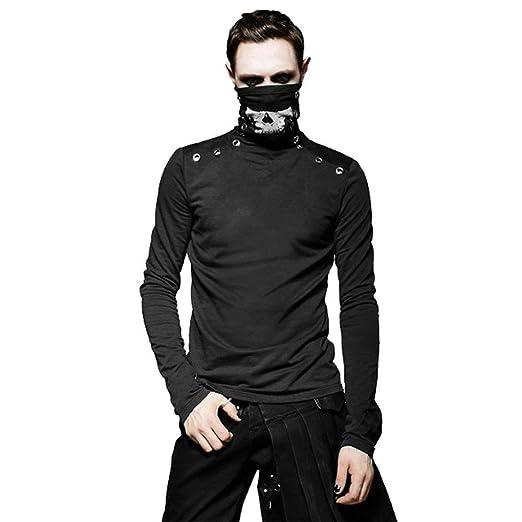 Amazon.com: PUNK RAVE Fashion Men Skull Mask T Shirts Gothic ...