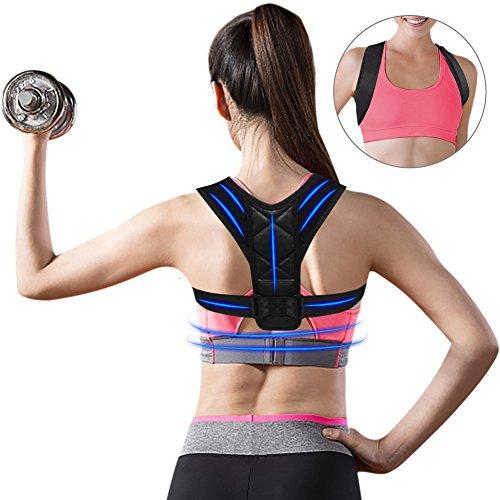 Posture Corrector, Upper Back Brace, Posture Corrector For Women Men, FlatLED Effective Comfortable Adjustable Shoulder Brace (REG 28- 47) Clavicle Support Device Kyphosis Brace Muscle Pain Reliev