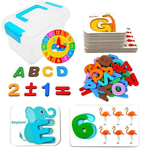 Numbers and Alphabets Flash Cards Set, ABC Wooden Letters and Numbers Animal Card Board with Learning Clock Matching Puzzle Game, Preschool Educational Montessori Toys Gift for Toddlers kid Age 2 3 4