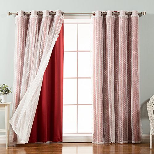 Best Home Fashion Mix & Match Dotted Tulle Lace & Solid Blackout Curtain Set – Antique Bronze Grommet Top – Cardinal Red – 52