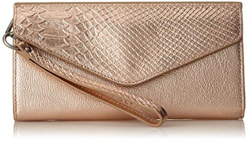 Clutch Snakeskin Lined (Liebeskind Berlin Women's Ceuta Metallic Leather Wristlet, Rose Gold)