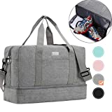 HOKEMP Sports Gym Bag with Wet Bag & Shoes Compartment, Swim Bag Travel Duffel Bag Lightweight Luggage Duffel 6 Color Choice (Gray-X - Large Size)
