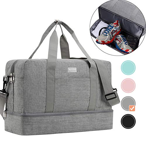 HOKEMP Gym Bag For Women Men Sport Duffel Bag with Shoes Compartment, Swim Bag Travel Tote Luggage Shoulder Bag(Grey,XL)