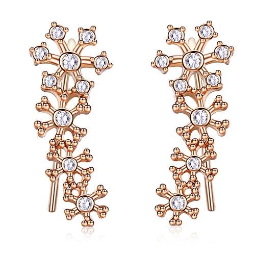 EVER SHINE Ear Cuff Climbers Crawlers Vines Hook Pierced Earings Snowflake Flower CZ Crystal (Gold Tone)