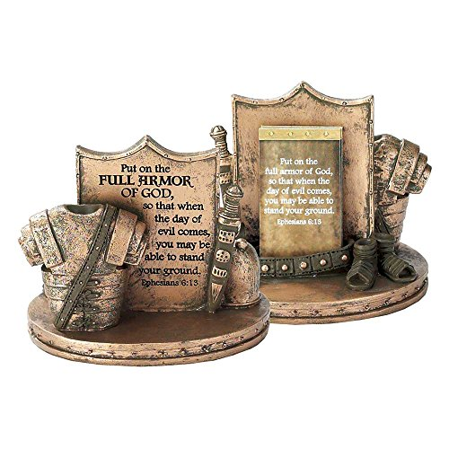 Scripture Card Holder (Full Armor of God Ephesians 6:13 Resin Stone Tabletop Scripture Card Holder)