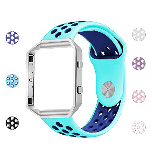 iGK Silicone Replacement Bands Compatible for Fitbit Blaze, Soft Sport Strap with Metal Frame for Fitbit Blaze Teal & Navy with Band Silver Frame Small