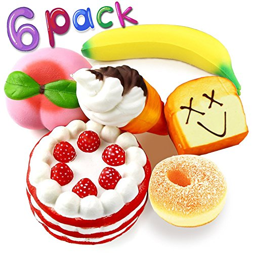 Squishies Slow Rising Toy,6 Pack Jumbo Squishy Strawberry Cake Ice Cream Peach Banana Donut Toast Bread Scented Food Fruit Stress Relief Toys Birthday Gift Party Favors for Boys Girls Adult (Cake Strawberry Banana)