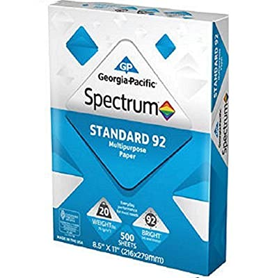 Georgia-Pacific Spectrum qnoqQQT Standard 92 Multipurpose Paper, 8.5 x 11 Inches 10 Reams/5000 sheets