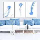wall26-3 Panel Canvas Wall Art - Watercolor Painting Style Blue Jellyfish - Giclee Print Gallery Wrap Modern Home Decor Ready to Hang - 16''x24'' x 3 Panels