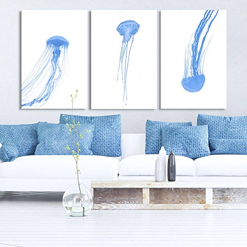 3 Panel Watercolor Painting Style Blue Jellyfish Gallery x 3 Panels