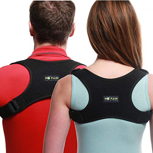 Back Straightener Posture Corrector for Women and Men by No Pain Solution-Effective and Comfortable Upper Back Brace For Clavicle Support-Neck and Back Pain Relief-Easy Adjustable, Unisex-FDA Approved