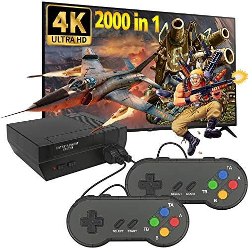 Fadist Retro Game Console,4K HDMI HD Output Video Game Console,Built in 2000+ Classic Video Games,with 2 Classic Controllers,Plug and Play Games Console,Ideal Gift for Kids, Adult, Friend, Lover