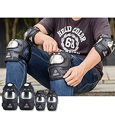 Wonzone Adult / Children Motorcycle Cycling Roller Skating Knee Elbow Protective Pads--Black, Suitable for Skateboard, Biking, Mini Bike Riding and Other Extreme Sports (Black&Silver) : Sports & Outdoors