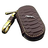 Amooca Waved Genuine Leather Car Remote Key Holder Case Cover Brown Fit for Jaguar With Logo