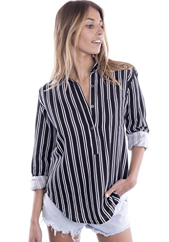 camixa-womens-striped-button-up-popover-shirt-effortless-work-to-weekend-basic-xl-black-white