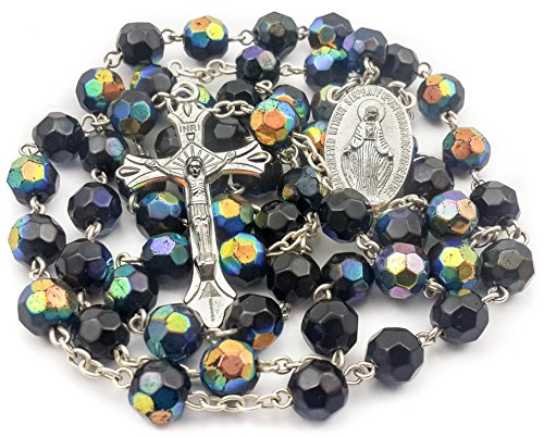 Catholic Multicolor Black Blue Unisex Rosary Crystal Beads Necklace Miraculous Medal and (Crystal Rosary Cross)