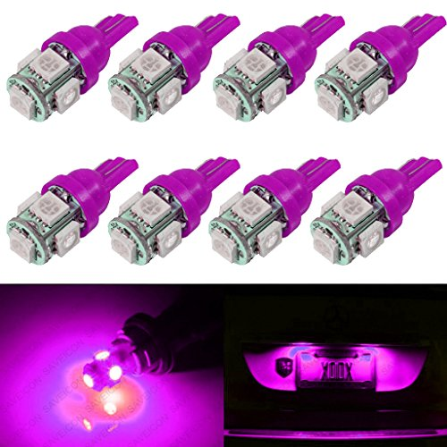 SAWE - T10 Wedge 5-SMD 5050 LED Light bulbs W5W 2825 158 192 168 194 (8 pieces) (Pink/Purple)