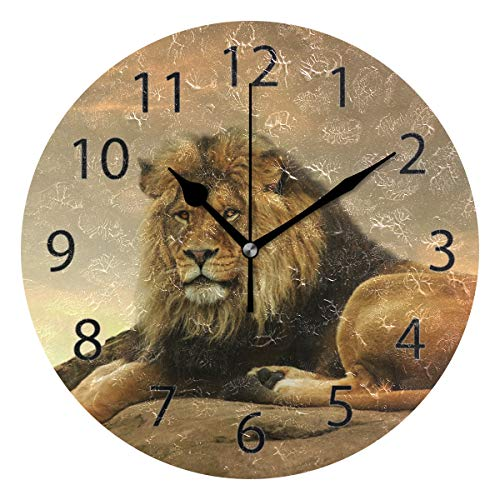 YATELI Wall Clock Shelf Round 10 Inch Diameter African Animal Lion King Stone Sitting Sunset Silent Decorative for Home Office Bedroom